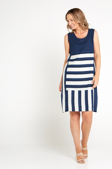 Salt Water Dress - Navy Stripe