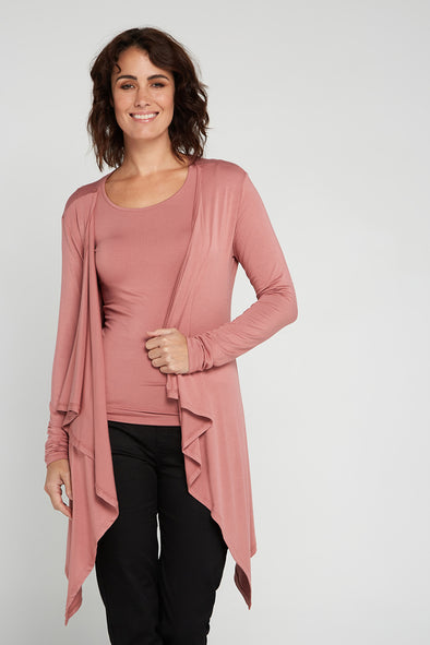 Lailah Bamboo Waterfall Cardi - Rose