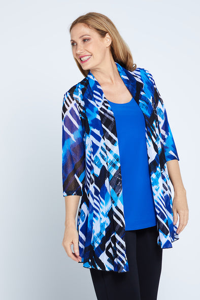 Lexie Easy Fit Jacket - Blue Print
