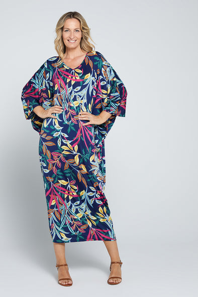 Long Cocoon Dress - Multi Leaf