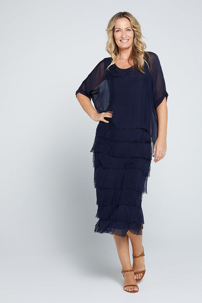 Margo Silk Dress - Navy