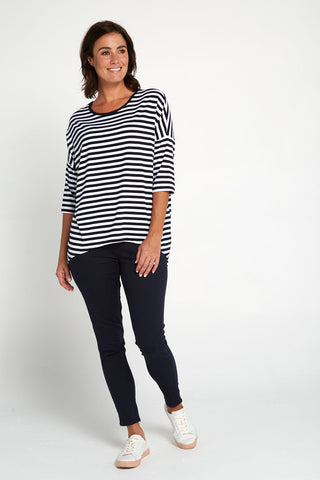 Montmartre Bamboo Top - Navy White Stripe