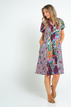Santiago Cotton Dress - Aztec