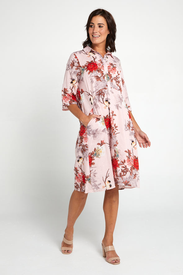 Patria Shirt Dress - Pink Blossom