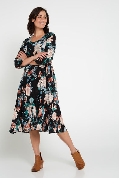 Poliana Dress - Black Floral
