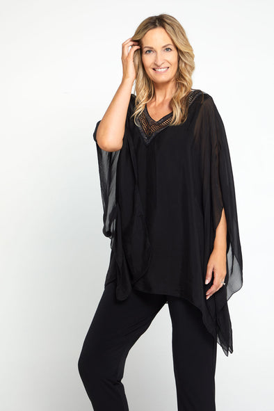 Lina Silk Top - Black