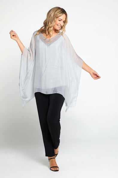 Lina Silk Top - Grey
