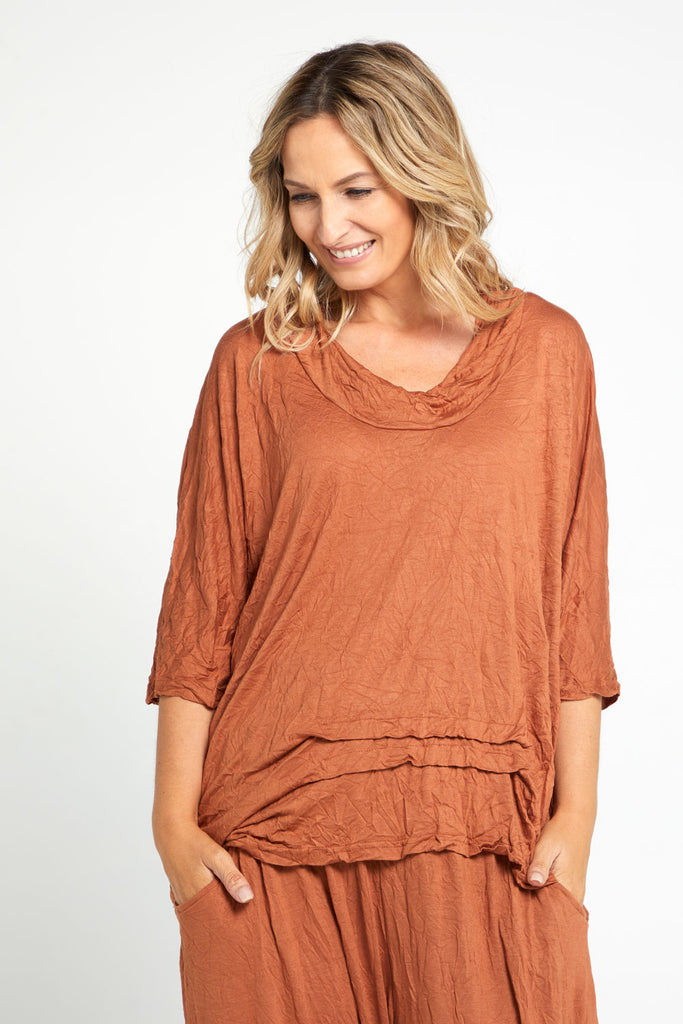 Mandy Cowl Top - Tobacco