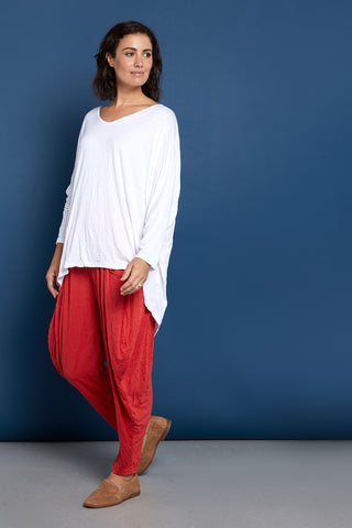 V Neck Celia Top - White