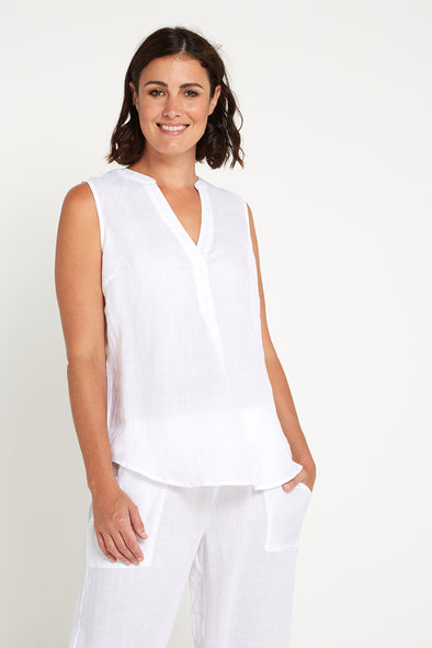 Nissa Upcycled Linen Top - White