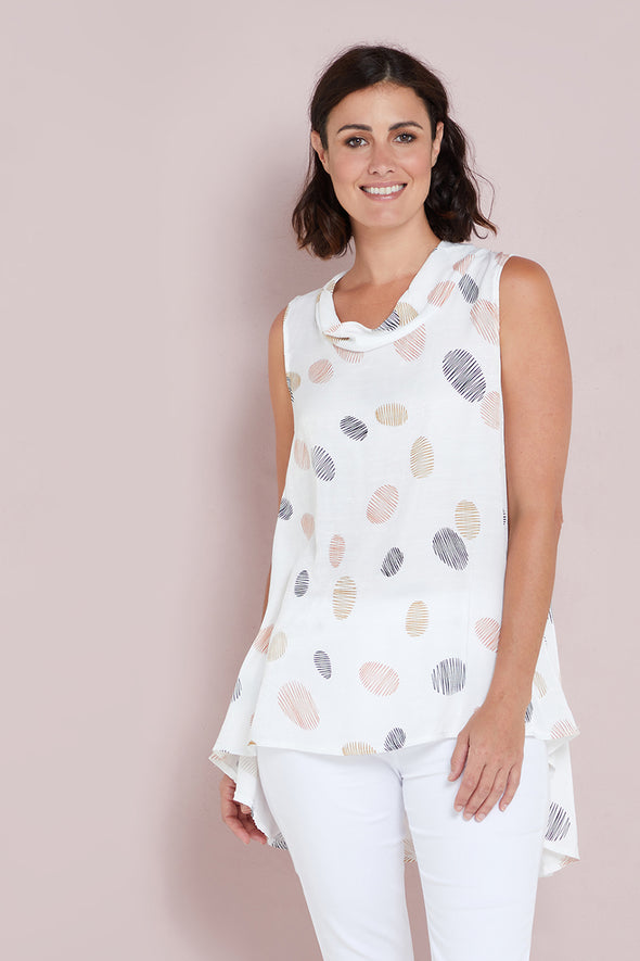 Gina Tunic - White/Rust Spot