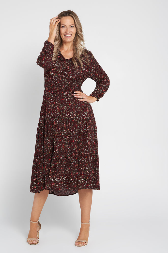 Mackella Dress - Wine/Floral