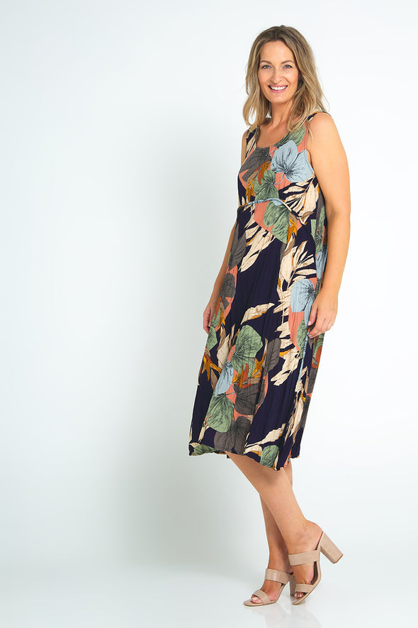 Angie Dress Dress - Navy Leaves