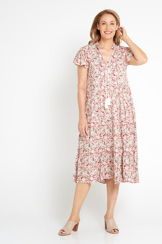 Inga Dress - Beige Floral