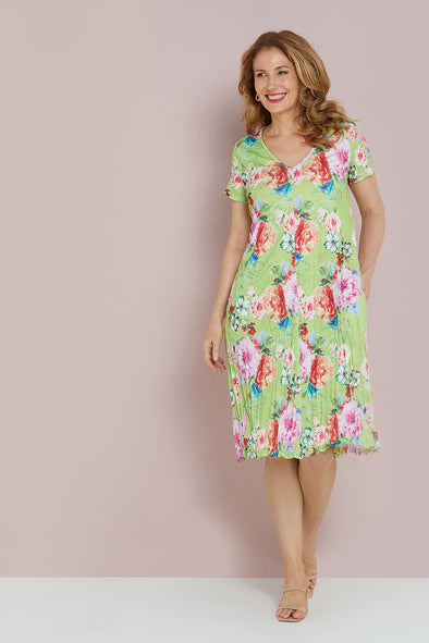 Stella Dress - Lime Floral
