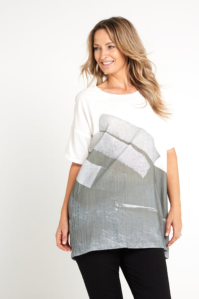 Jessamy Tunic - White/Charcoal