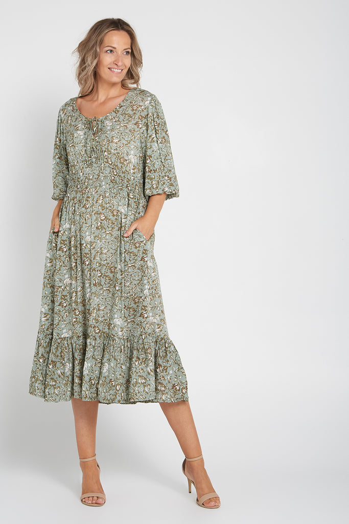 Abby Dress - Sage Floral