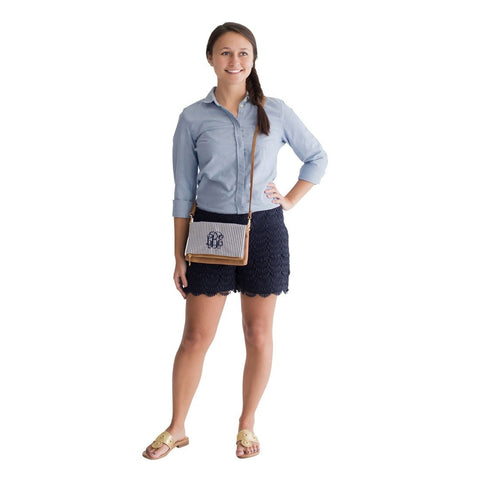 Navy Seersucker Crossbody-Purse-PinkandLulu.com