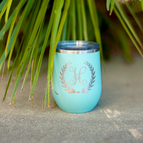 Wreath Single Initial 12 Oz Tumbler-Tumbler-PinkandLulu.com