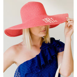 Coral Wide Brim Floppy Hat