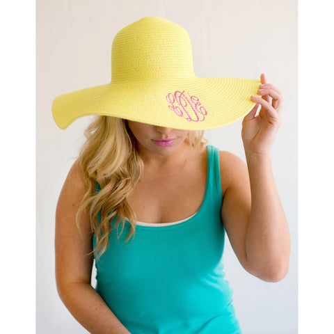 Yellow Wide Brim Floppy Hat-Hat-PinkandLulu.com