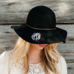 Black Wool Floppy Hat-Hat-PinkandLulu.com