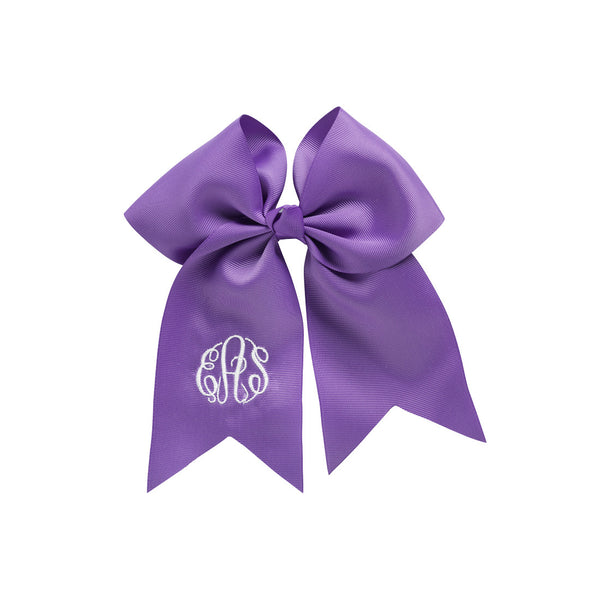 purple monogram hair bow