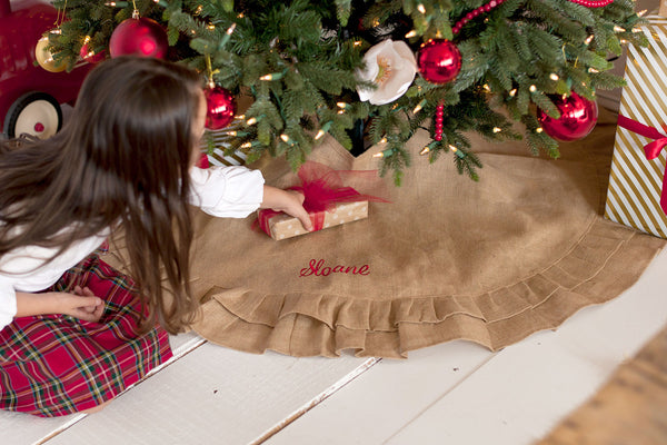 Burlap Ruffle Tree Skirt-Home Goods-PinkandLulu.com