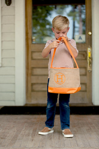 Orange Burlap Bucket-Totes-PinkandLulu.com
