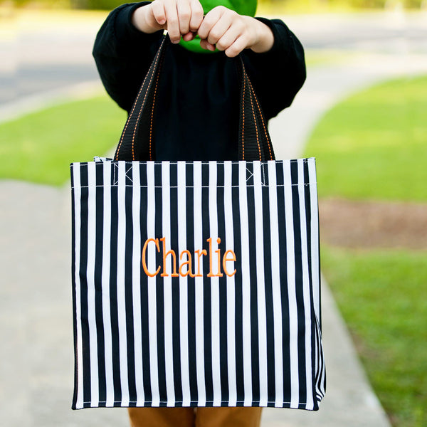 black stripe halloween tote