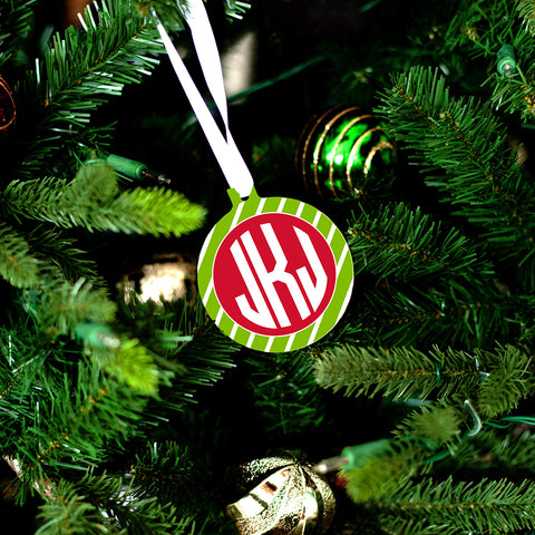 Green Stripe Ornament-Ornament-PinkandLulu.com