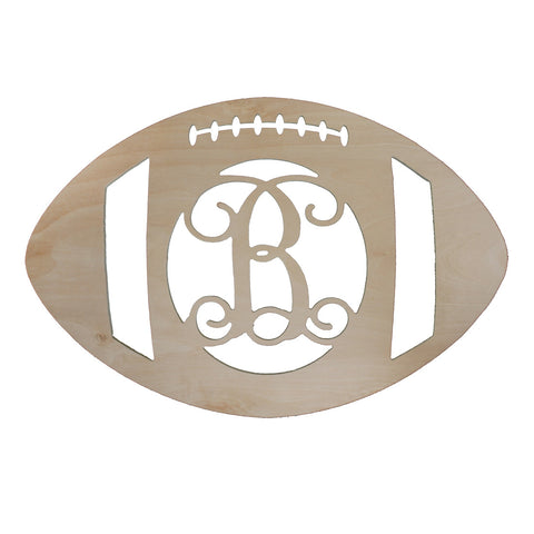 monogrammed football wood initial