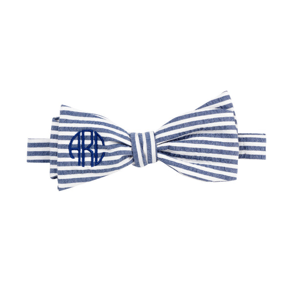 monogram Navy Searsucker Bow Tie