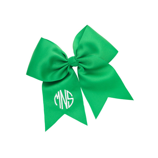 green monogram hair bow