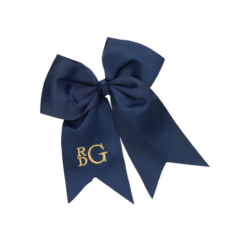 Navy monogram hair bow