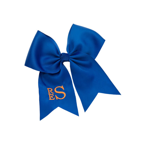 royal blue monogram hair bow