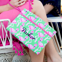 Flamingle Zip Pouch Wristlet-Wristlet-PinkandLulu.com