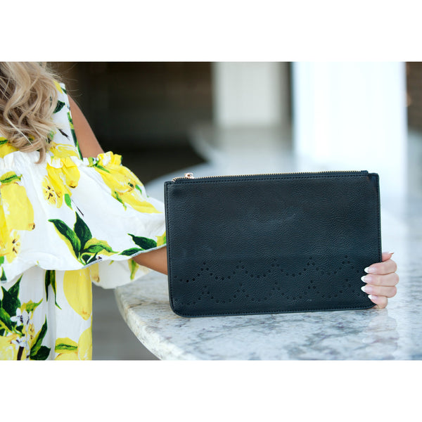 Black Ava Clutch-Purse-PinkandLulu.com