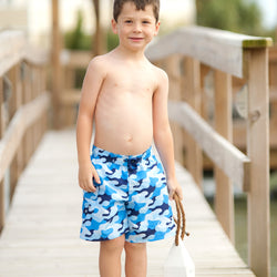 Cool Camo Boys' Swim Trunks-Swim Wear-PinkandLulu.com