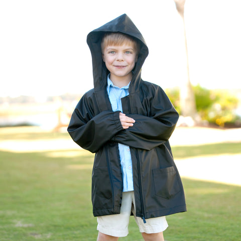 Kids' Black Rain Jacket-Apparel-PinkandLulu.com