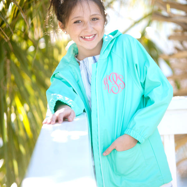 Kids' Mint Rain Jacket-Apparel-PinkandLulu.com