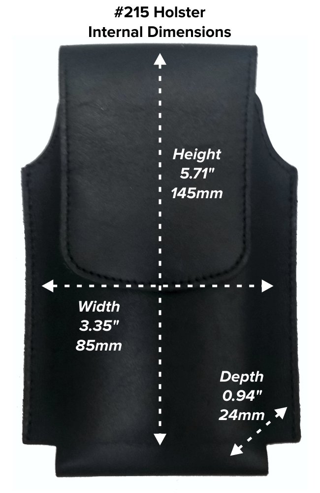 Large Wide Hip Holster (215) Dimensions