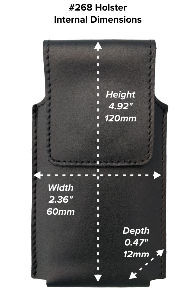 Short Hip Holster (268) Dimensions