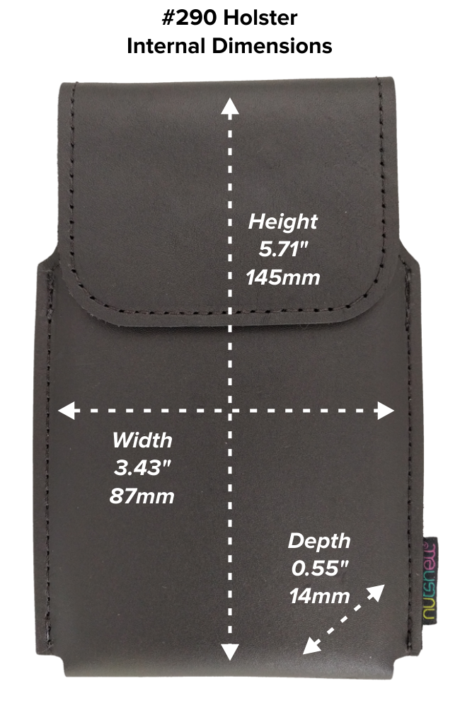 Regular Wide Hip Holster (290) Dimensions