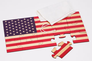 American Flag Shaped Wood Jigsaw Puzzle