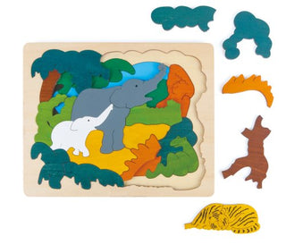 Continent: Asian Multi-Layer Animal Biome Wood Puzzle