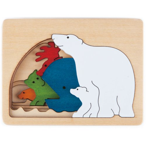 Continent: Polar Animals Multi-Layer Biome Wood Puzzle