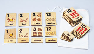 1-12 Numbers 3-Part Wood Tile Cards
