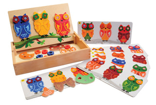 Match & Pattern: Owls Magnetic  Wooden Set