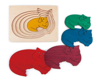 Multi-Layer Nesting Wood Puzzle: Five Cats